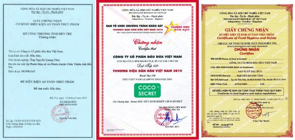 Giấy chứng nhận chất lượng và an toàn vệ sinh thực phẩm của dầu dừa nguyên chất Coco secret - khoedeptainha.vn