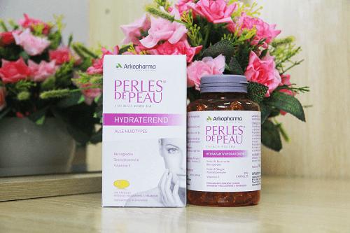 Viến uống đẹp da collagen Perles de peau Hydratant 200 viên của Pháp